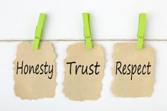 Honesty Trust Respect Concept. Honesty, Trust and Respect writen on old torn paper with clip hanging on white background. Business concept stock photos