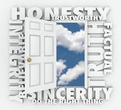 Honesty Truth Integrity Reputation 3D Word Door. Honesty, Integrity, Believable, Trustworthy, Truth and Sincerity 3d words around a door to illustrate Stock Photos