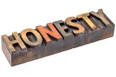 Honesty word in vintage wood type Royalty Free Stock Image