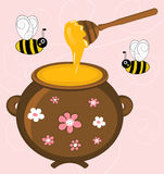 Honey. And  Bees Illustration Royalty Free Stock Photography