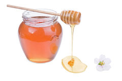 Honey. Glass jar with honey and wooden stick isolated on white background Stock Images