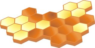 Honey 3d. Honey comb partially filled with golden honey Royalty Free Stock Photos