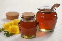 Honey. Fresh natural honey and yellow flowers stock images