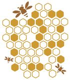 Honey. Stylized bees and honey on a white background Royalty Free Stock Images