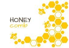 Honey abstract background with honeycomb and bee. Vector illustration. Honey yellow abstract background with honeycomb and bee. Vector illustration stock illustration