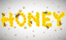 Honey. Abstract colorful illustration with the word honey made from yellow flowers and some small bees flying around Stock Photo