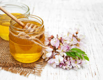 Honey with acacia blossoms Stock Photography