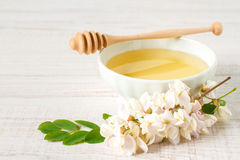 Honey with acacia flower Stock Photography