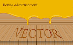 Honey advertisement template, wooden table with honey drops background vector illustration