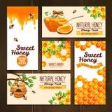 Honey Advertising Banners Imágenes de archivo libres de regalías
