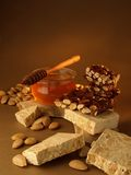 With honey and almond nougat Stock Photography