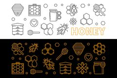Free Honey And Beekeeping Vector Linear Banners Set Stock Images - 126165384