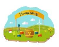Honey Apiary Conceptual Vector im flachen Art-Design Lizenzfreies Stockfoto