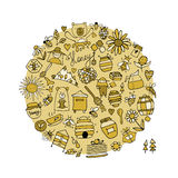 Honey apiary, icons set. Sketch for your design Royalty Free Stock Images
