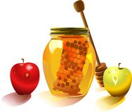 Honey and apple Royalty Free Stock Images