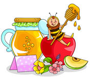 Honey and apple. Bee sitting on an apple next to a honey jar (honey and apple are symbols for the jewish new year Stock Photos