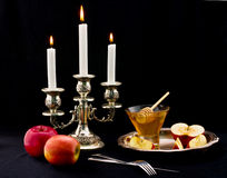 Honey and apple. Symbology new year beside jude Royalty Free Stock Image