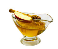 Honey and apple isolated on white Stock Images