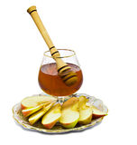 Honey and apple isolated on white Royalty Free Stock Photo