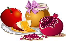 Honey Apple And Pomegranate For Rosh Hashanah. Vector illustration of honey apple and pomegranate on a plate for Rosh Hashanah the Jewish new year royalty free illustration