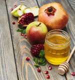 Honey  apple and pomegranate Stock Photography
