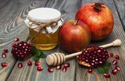 Honey  apple and pomegranate Stock Image