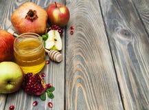 Honey  apple and pomegranate Stock Photo