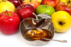 Honey with apple for Rosh Hashana Stock Images