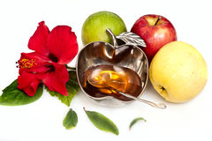 Honey with apple for Rosh Hashana Stock Image