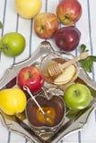 Honey with apple for Rosh Hashana Stock Photos