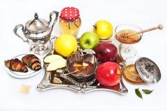 Honey with apple for Rosh Hashana Royalty Free Stock Photos