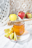 Honey with apple for Rosh Hashana Royalty Free Stock Images