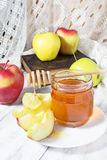 Honey with apple for Rosh Hashana Royalty Free Stock Image
