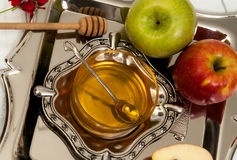 Honey with apple for Rosh Hashanah Stock Images