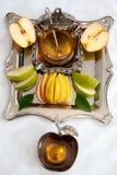 Honey with apple for Rosh Hashanah Stock Photos