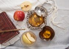 Honey with apple for Rosh Hashanah Stock Photo