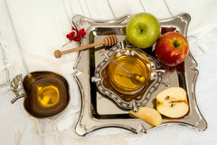 Honey with apple for Rosh Hashanah Stock Photography