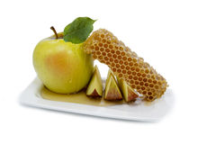 Honey and apple are symbols of rosh hashanah Stock Image