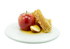 Honey and apple are symbols of rosh hashanah Stock Images