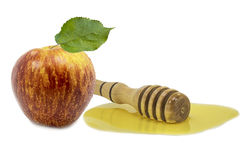 Honey and apple are symbols of rosh hashanah Royalty Free Stock Photo