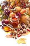 Honey, apples and autumn fruits Royalty Free Stock Photography