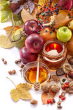 Honey, apples and autumn fruits Royalty Free Stock Image