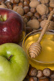 Honey apples and nuts Royalty Free Stock Images