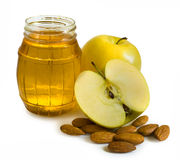 Honey, apples and nuts Royalty Free Stock Images