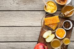 Honey assortment with fruits, natural medicine concept royalty free stock images