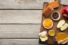 Honey assortment with fruits, natural medicine concept royalty free stock image