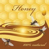 Honey background and bees. Honey background, bees and drop Royalty Free Stock Photography