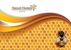 Honey Background mit Arbeitsbiene Stockfotografie