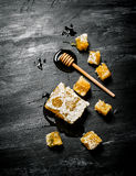 Honey background. Natural honey comb and a wooden spoon . Stock Photos