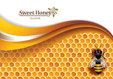 Honey Background With Working Bee Stock Photography